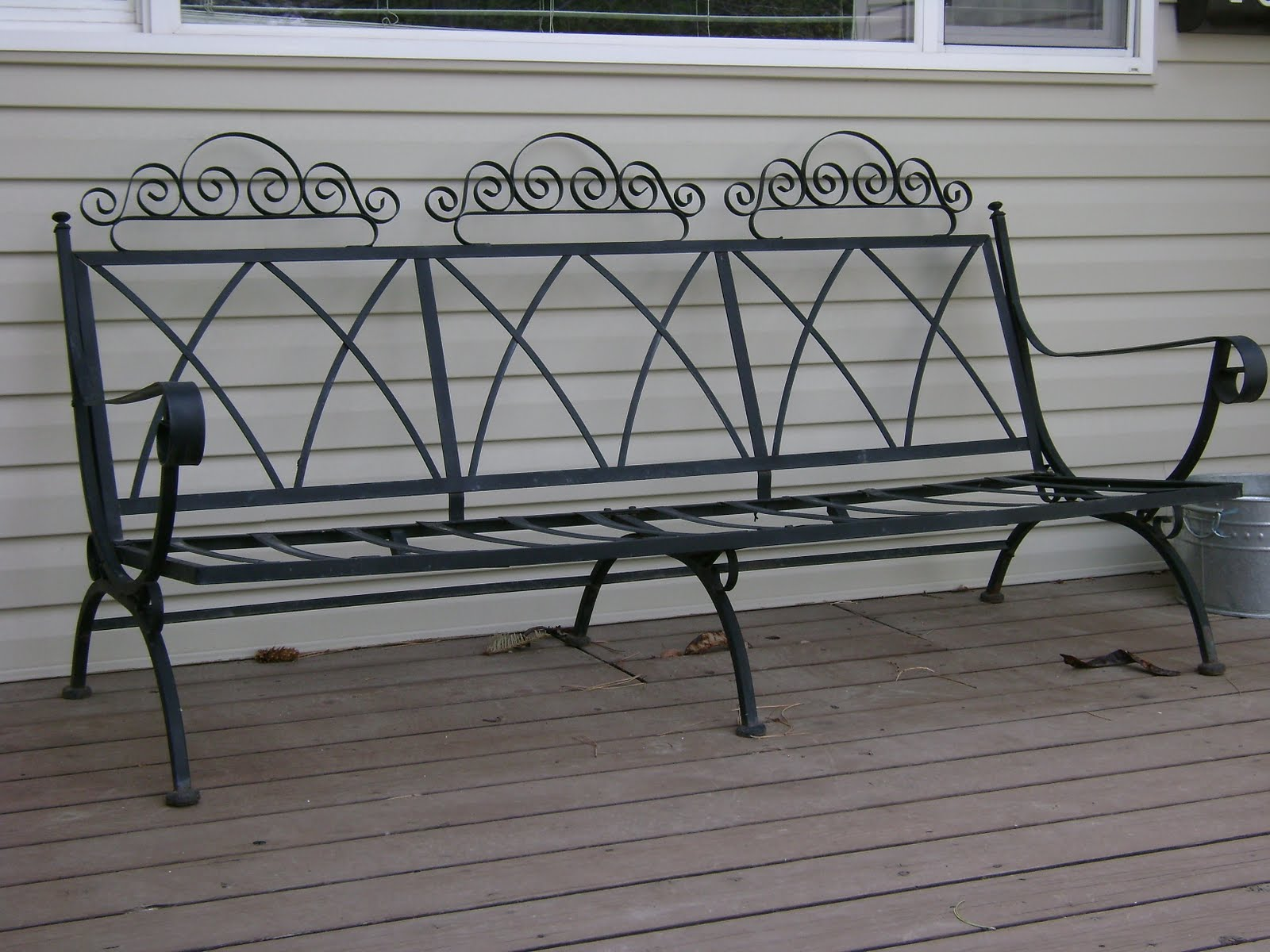 Vintage Wrought Iron Patio Bench Vintage Farm Furniture