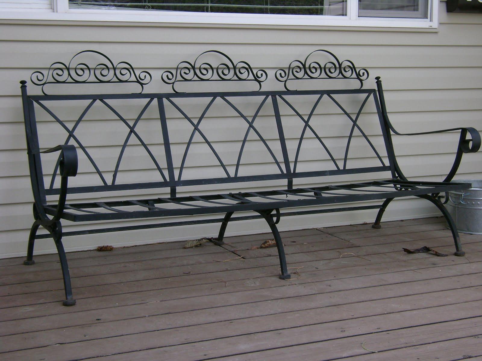 Vintage Wrought Iron Patio Bench — Vintage Farm Furniture