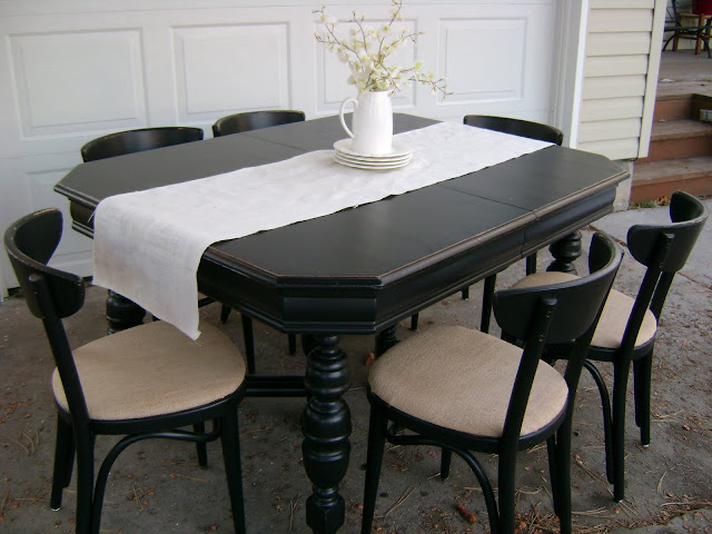Black Distressed Dining Table And Six Parlor Chairs Stamped 1928
