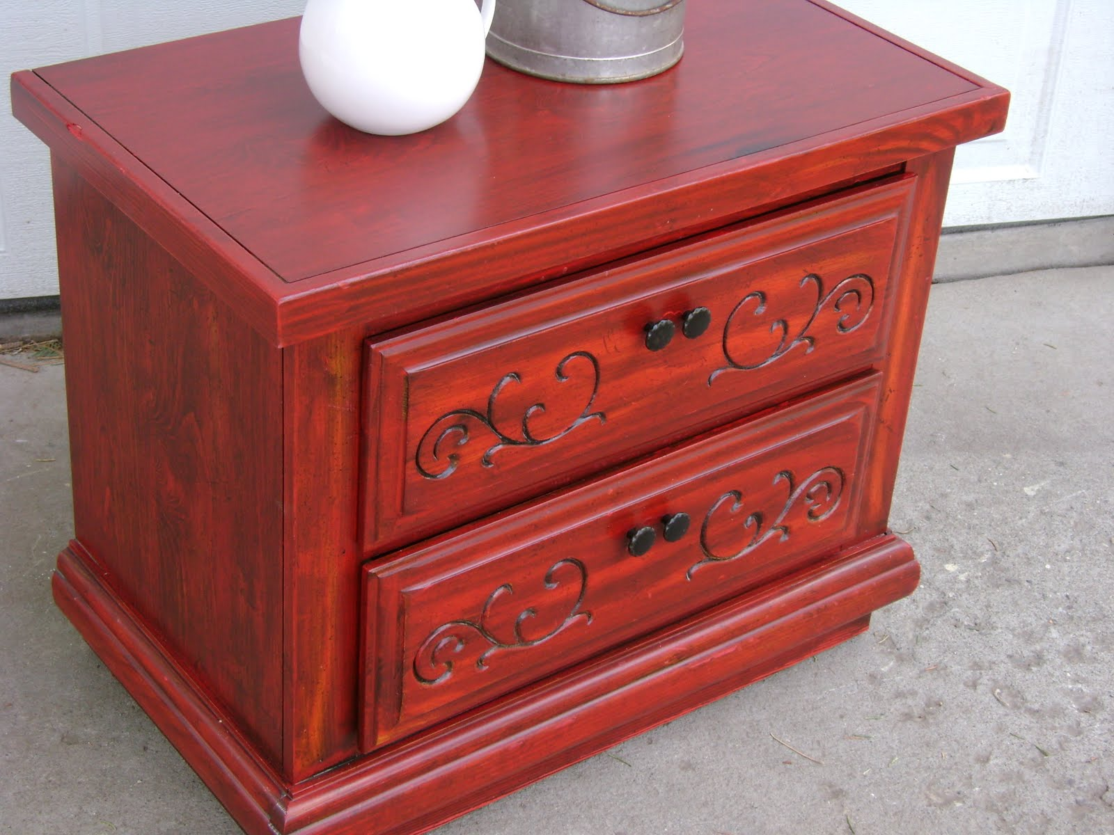 red distressed two drawer nightstand