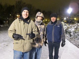 Mike Oxley, Andy Parker & Roger North-Row traverse the ice patches in Brighton 2010