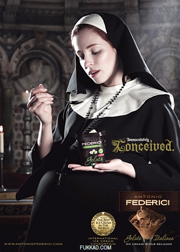 Satanic Nun http://celebcurry.blogspot.com/2011/01/blasphemous-french-advertising.html