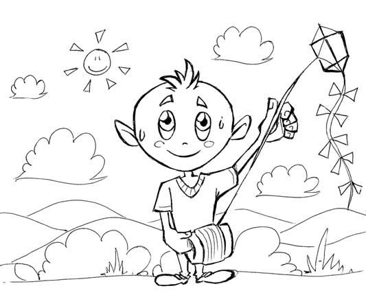 Extremamente Desenho infantil colorir. Desenho de menino - Desenhos Para Colorir BB64