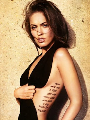 Sexy Girls with Text Rib Tattoos Designs
