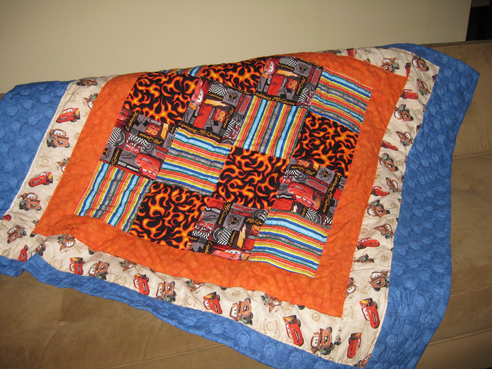Crafters in the sky racing cars movie themed boys quilt for Jake quilted bedding