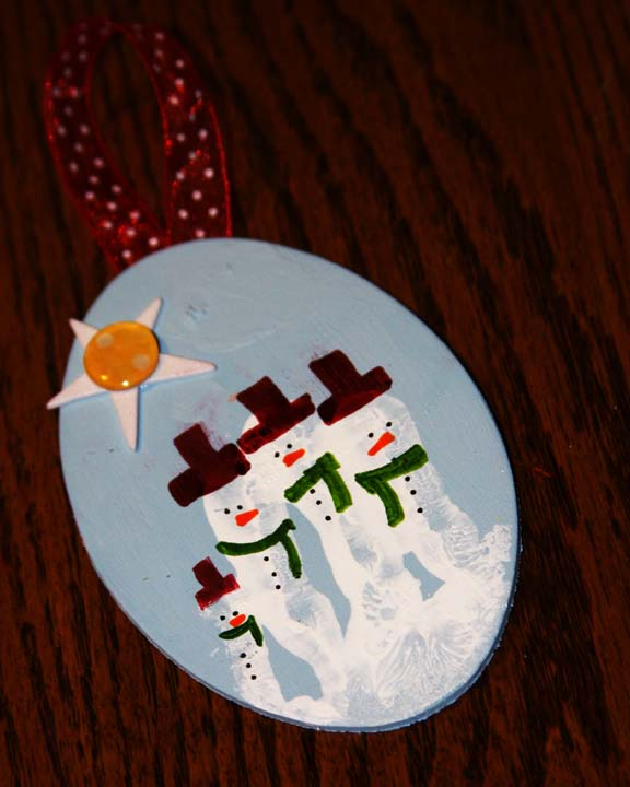 Hand Painted Snowmen Wooden Discs