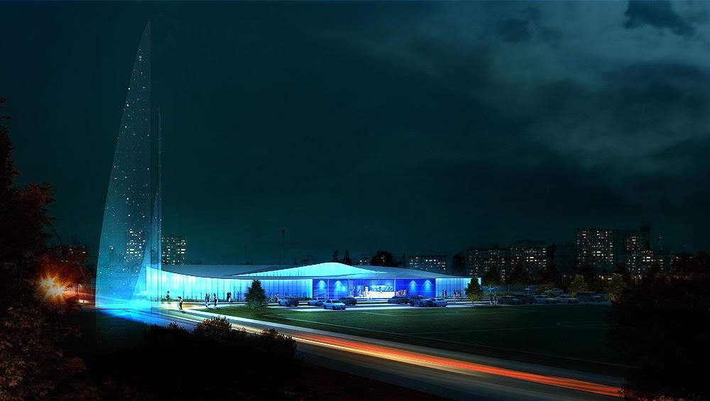Perspectives 3d architecture perspectives nouvelle piscine for Exterieur nuit jacques bral