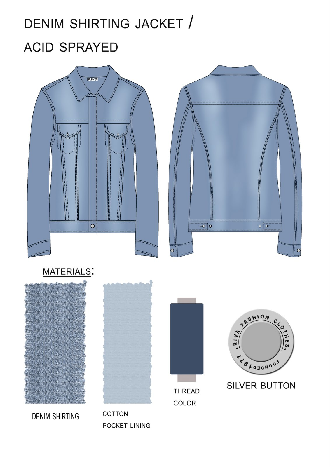 Sketches Work u0026 Samples Technical Drawings for Denim Jackets