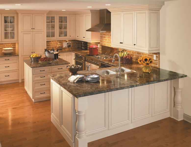 Kitchen and residential design guess the counter material for Peninsula kitchen designs