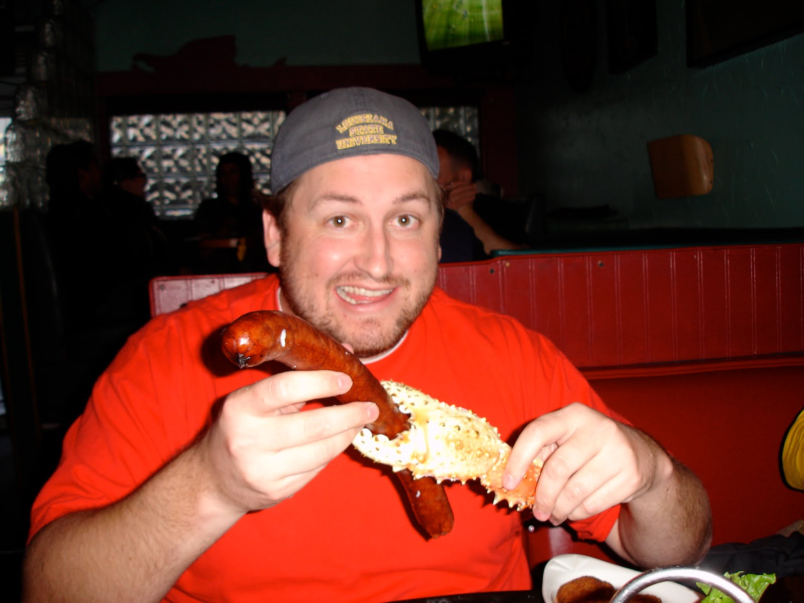 Jay plays with the reindeer sausage and Alaskan King Crab legs during the Kodiak Arrest Challenge