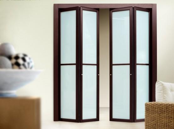 Folding Door Design : Slim wooden aluminum folding doors remodeling decorating