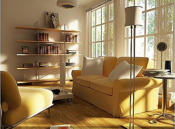 Contemporary minimalist small living room interior design for Minimalist decorating small spaces