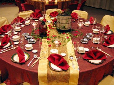 wedding reception can be created by decorating the tables in a beautiful and