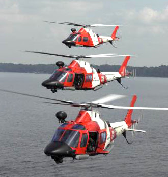 Three Coast Guard helicopters