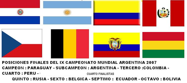 CUADRO DE HONOR Y CUARTOS FINALISTAS DEL IX CAMPEONATO MUNDIAL DE FUTBOL DE SALON ARGENTINA 2007