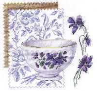 Чашка с синими цветами, 20х20, аида 14, счетный крест.