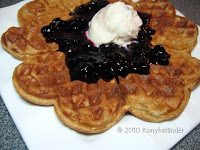 oatmeal waffles with blueberry preserve and ice cream