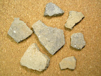Shell tempered pottery from the Carson Mound site in Mississippi