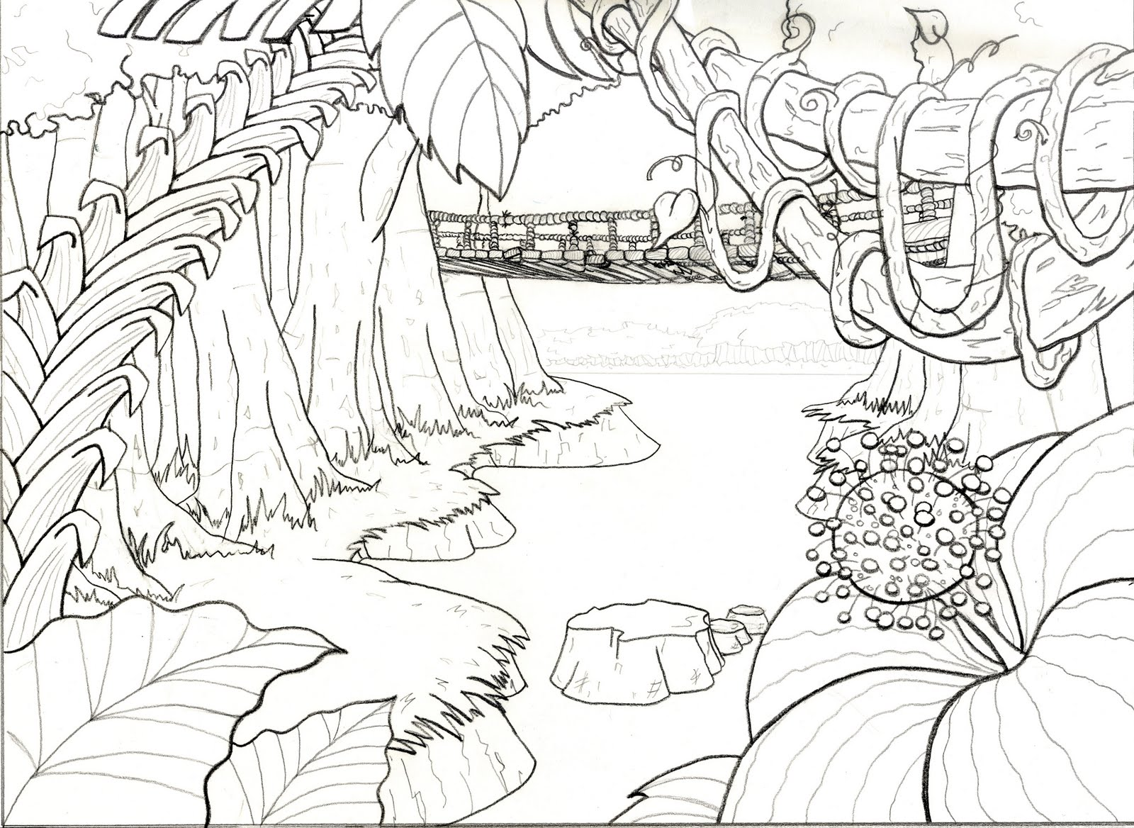 jungle background coloring pages - photo#6