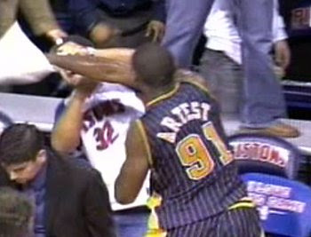 Ron Artest fights pistons fans  2004