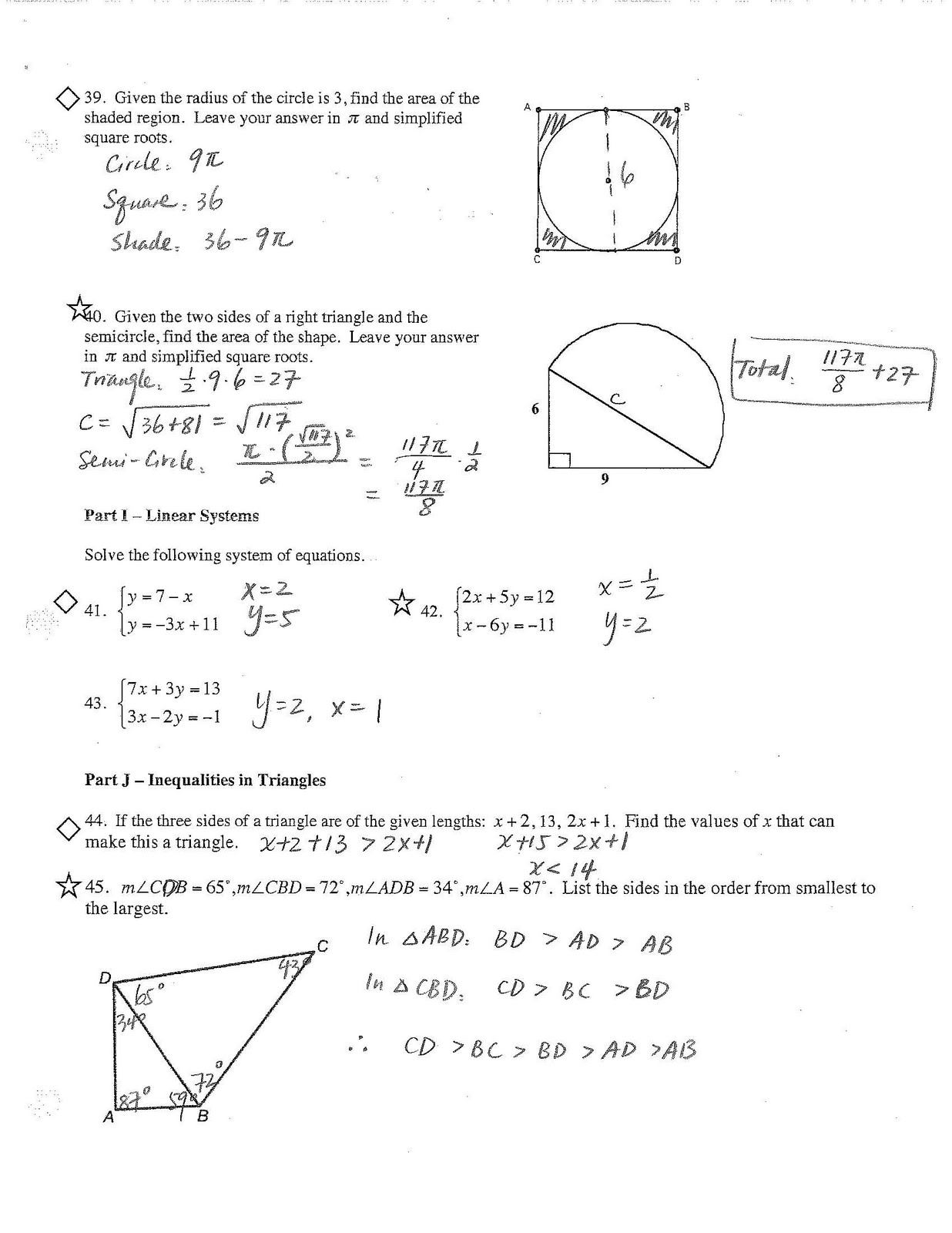 Geometry review sheet answers