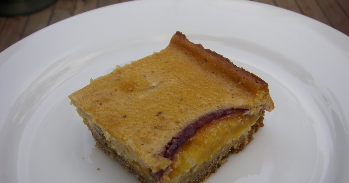 ... into Food: Nectarine, Apricot and Hazelnut Praline Cheesecake Bars