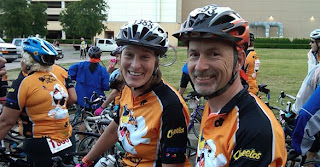Heather and I preparing to ride in the Sam's Club MS 150 bike ride last weekend.  Our team, the Cheesy Riders is sponsored by Pepsico and Frito Lay, whose headquarters is in Plano, TX