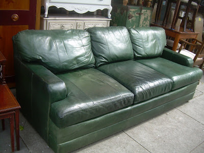 SOLD   Forest Green Leather Couch   $200