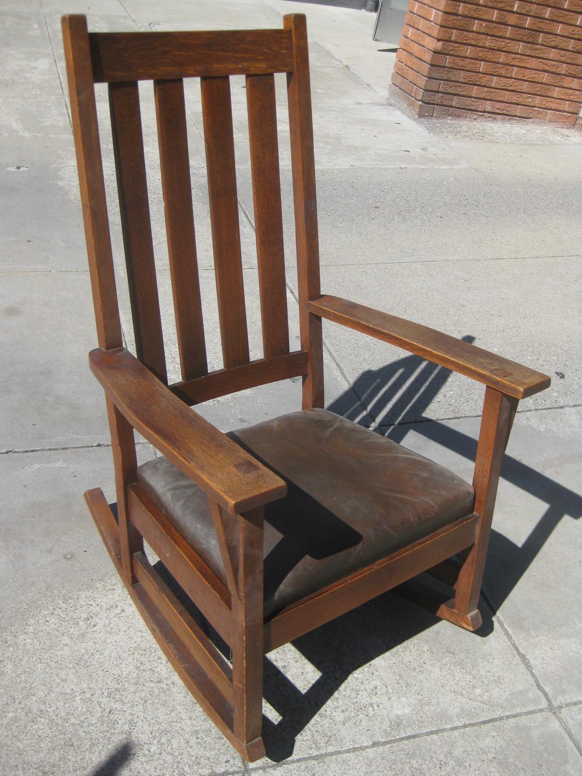 SOLD - Mission Oak Rocking Chair - $275 - UHURU FURNITURE & COLLECTIBLES: SOLD - Mission Oak Rocking Chair - $275