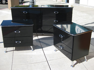 Sold Black Lacquer Dresser Set 200