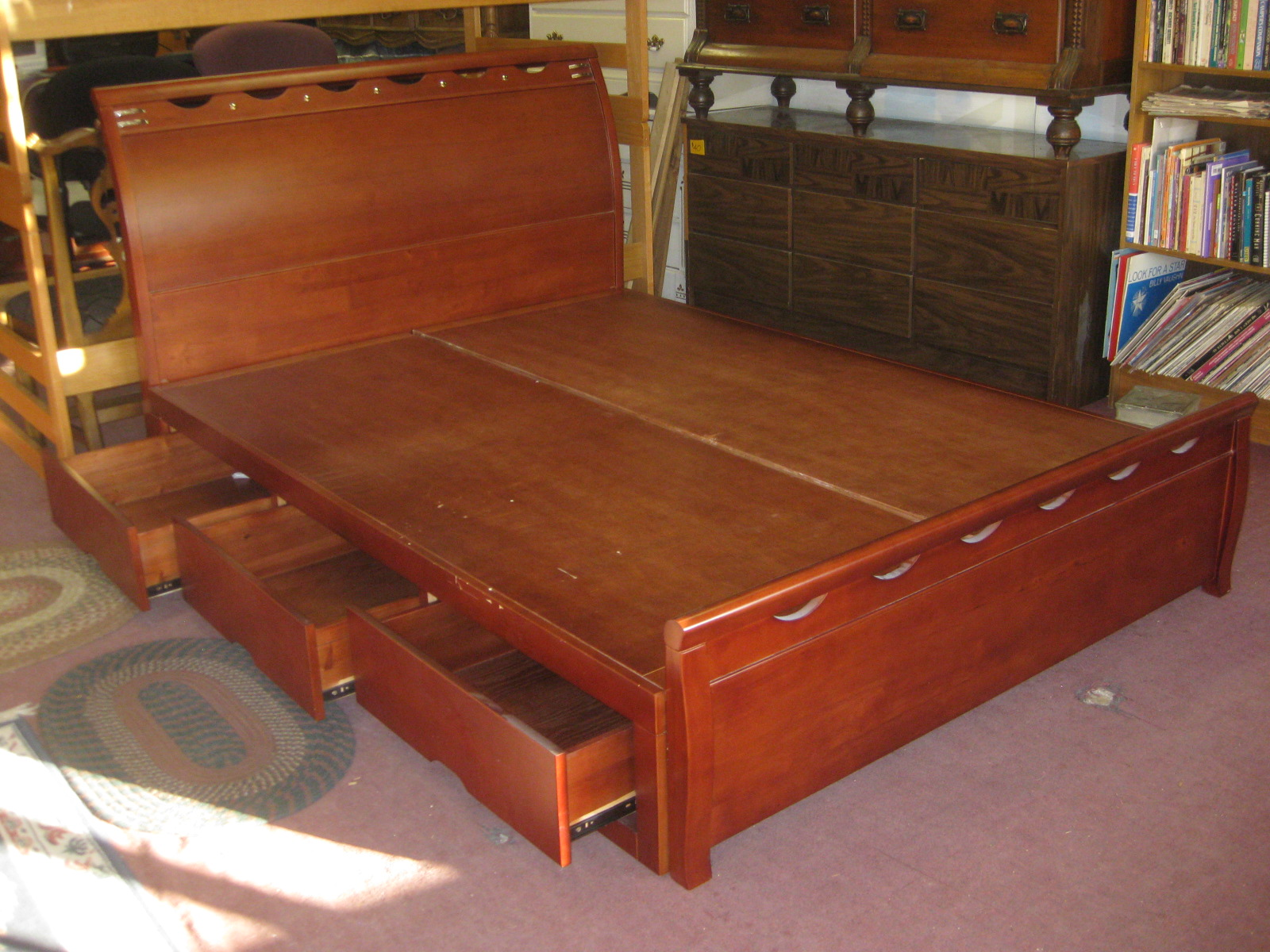 Uhuru furniture collectibles sold queen captain 39 s bed 160 - Captains bed queen plans ...