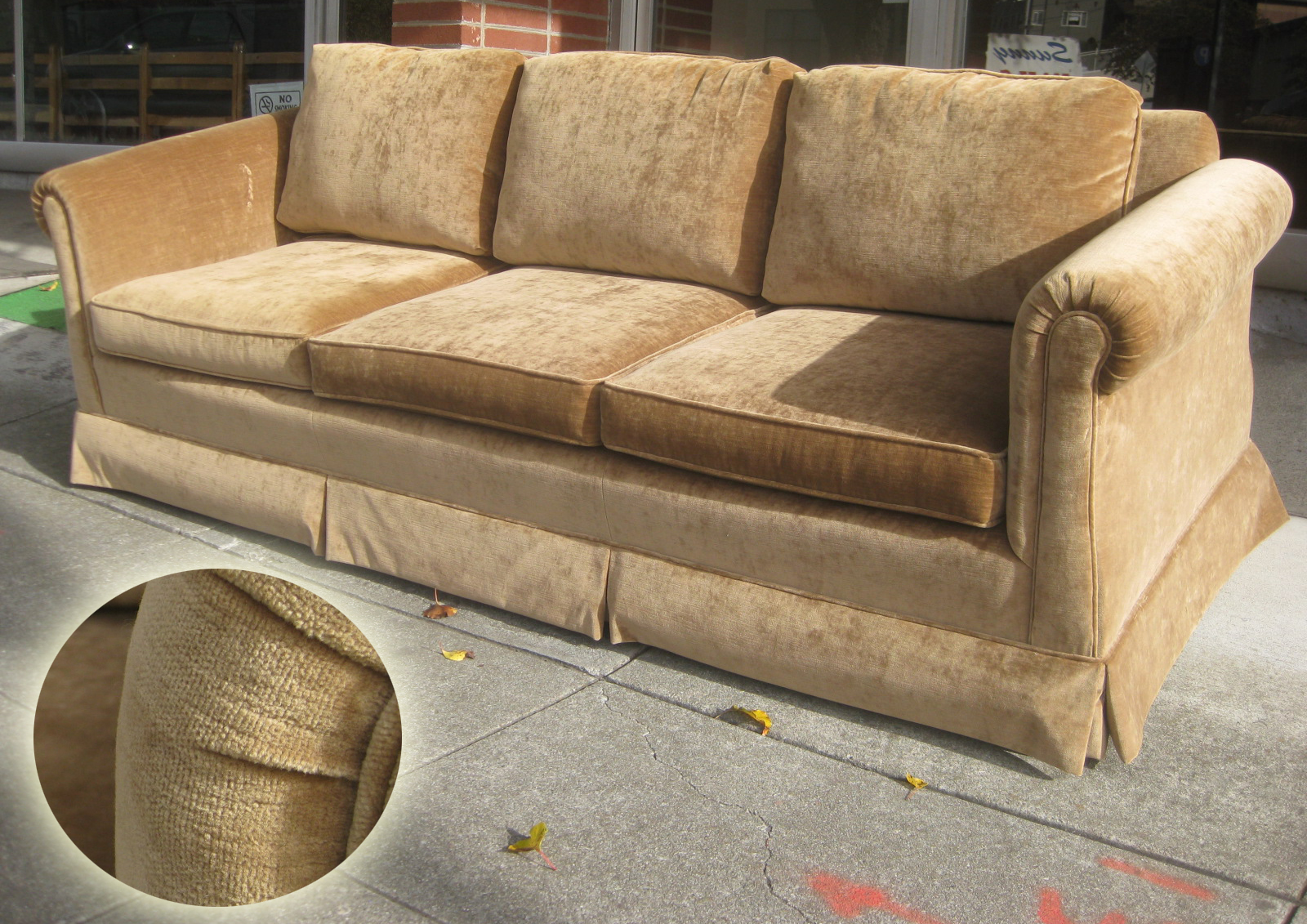 Exceptionnel SOLD   Brown Velvet Sofa And Chair   $220