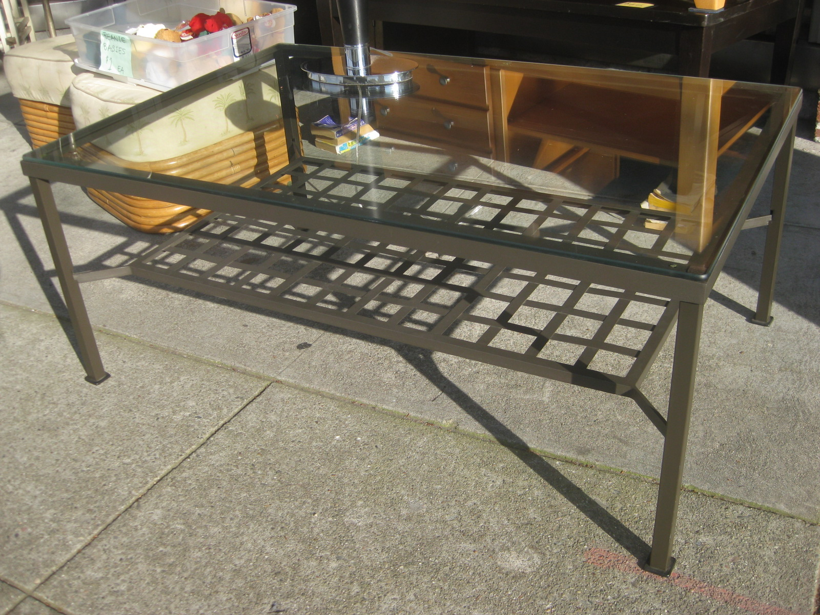 Uhuru Furniture Collectibles Sold Large Glass And Metal Coffee Table 40