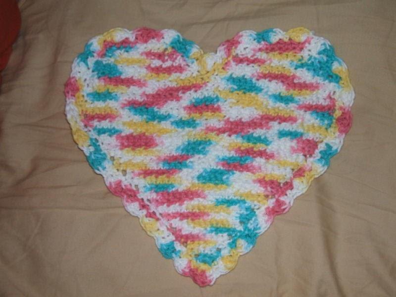 Knitting Pattern Heart Dishcloth : The Left Side of Crochet: Heart Dishcloth