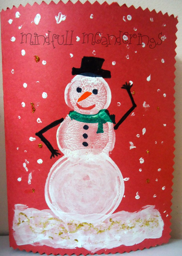 Make your own snowman card for christmas artsy craftsy mom