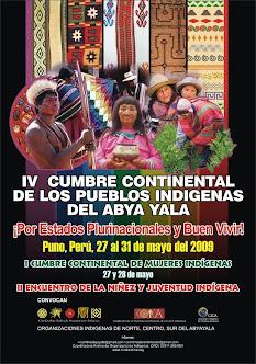 IV Cumbre Continental de los Pueblos y Nacionalidades Indígenas del Abya Yala