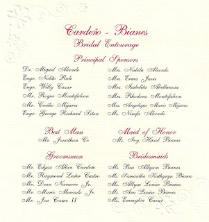 Sample Wedding Entourage List Invitation http://kissesontiptoes.blogspot.com/2009_09_01_archive.html