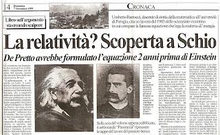 relatività, Olindo De Pretto