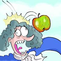 Newton, mela, gravità, vignetta, cartone