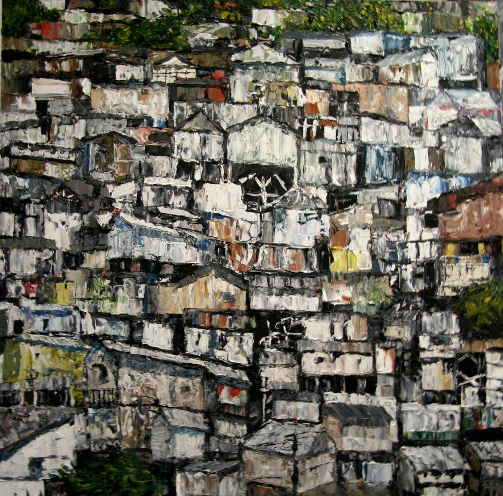 Florent espana favelas 9 huile sur toile 100 cm x 100 cm for 9 rue du jardin des plantes 69001 lyon