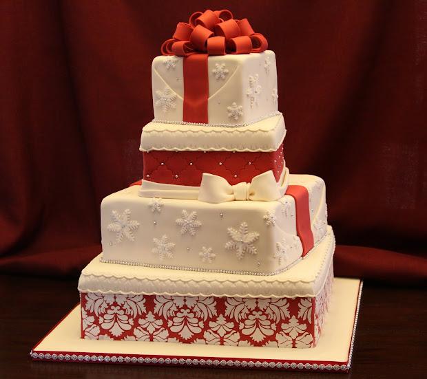 Christmas Theme Wedding Cake