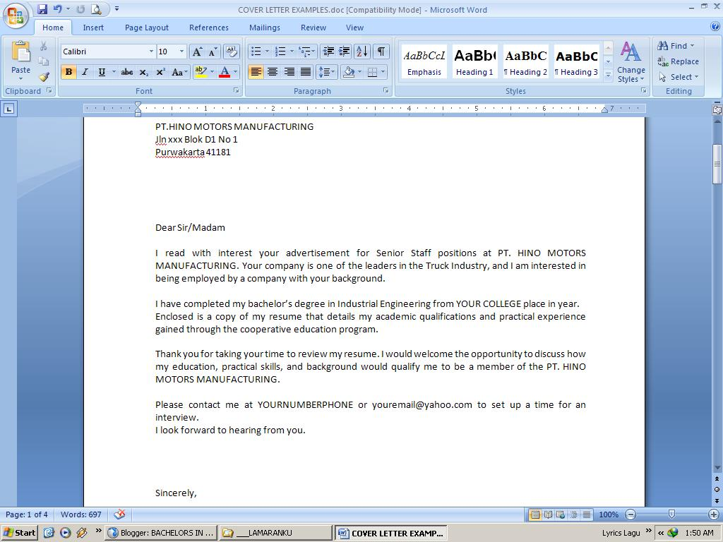 Sample Letter of Application - Cover Letters - Job Search