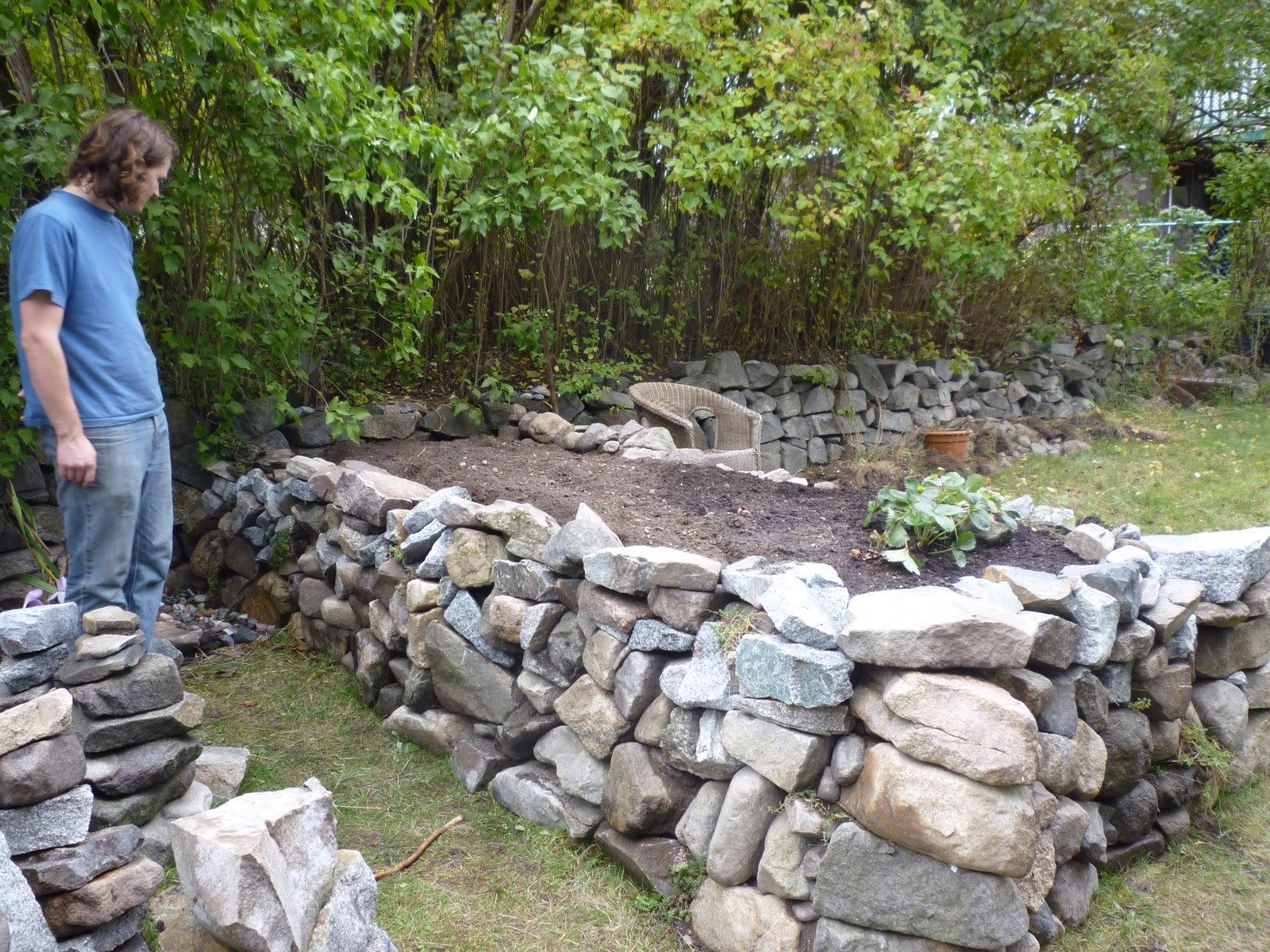Raised rock garden bed awaiting plants