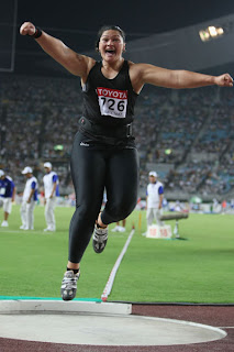New Zealand's Beatrice Faumuina at Delhi Commonwealth Games