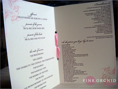 Pink Orchid Weddings: Ceremony programs with some double happiness!