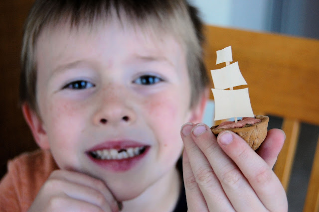Fabulous tutorial on how to make a Mayflower boat out of a walnut shell.