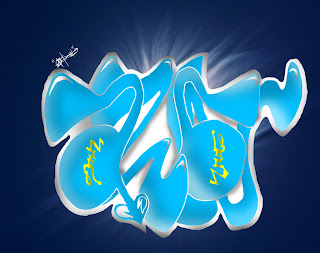Graffiti Alphabet Bubble Full Blue Colour Design
