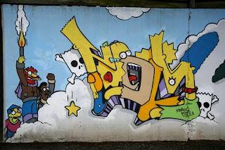The Simpson Graffiti Murals in the Wall