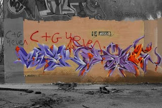 3D Graffiti Alphabet Murals Purple Color Fonts Design
