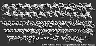 Hard Way Graffiti Fonts Tagg Alphabet on Black Paper